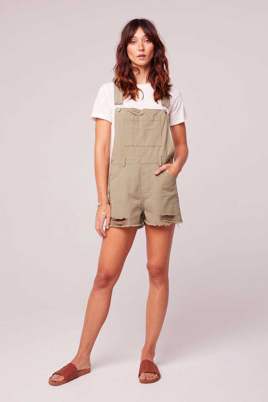 One And Done-Sage Short Overall Romper Master