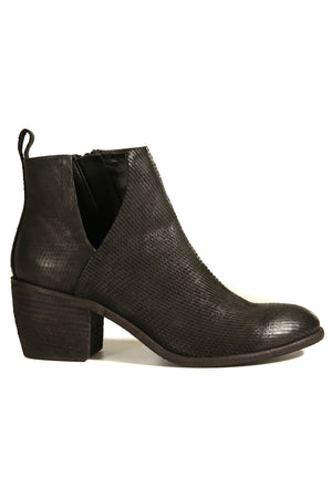 Oslo Black Snake Effect Leather Boot Side