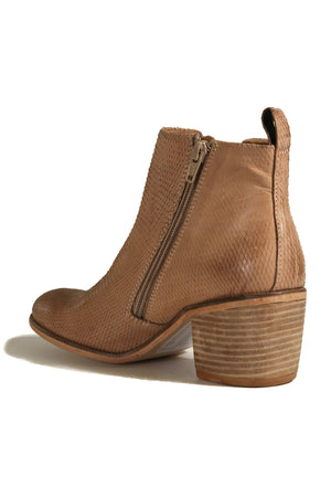 Oslo Tan Snake Effect Leather Boot Back