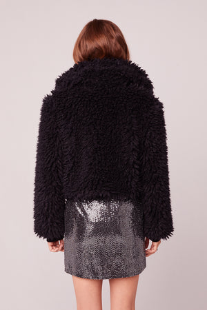 Oui Oui Black Faux Fur Jacket Back