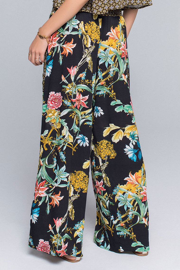 Jasmine Tropical Mix Print Wide Leg Pant