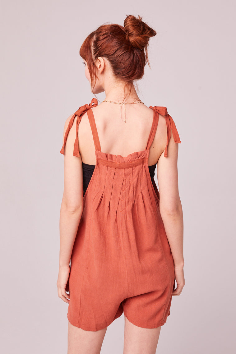 Paradiso Rust Shoulder Tie Romper BAck2