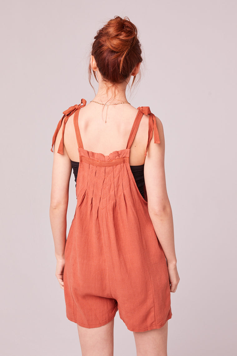 Paradiso Rust Shoulder Tie Romper Back