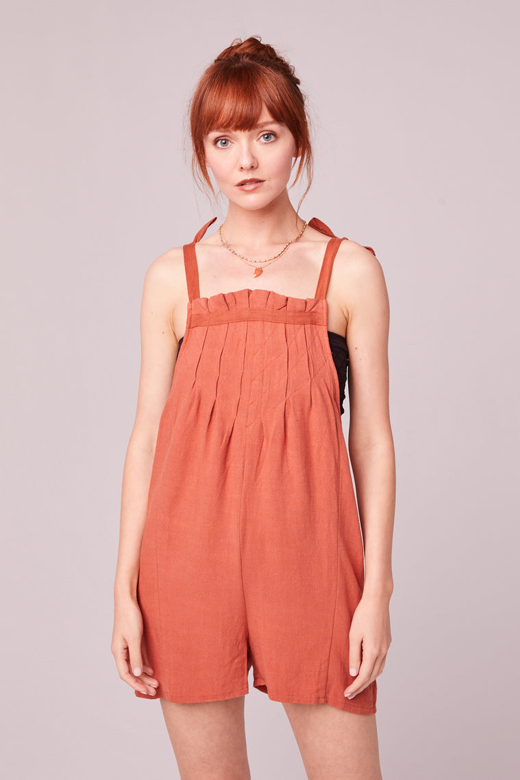 Paradiso Rust Shoulder Tie Romper Detail