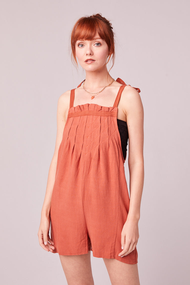 Paradiso Rust Shoulder Tie Romper Close