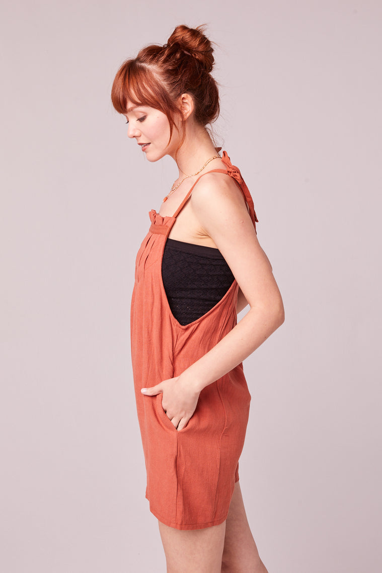 Paradiso Rust Shoulder Tie Romper Side