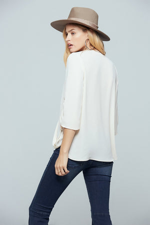 Parma Ruched Sleeve Wrap Blouse Back