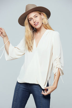 Parma Ruched Sleeve Wrap Blouse Detail