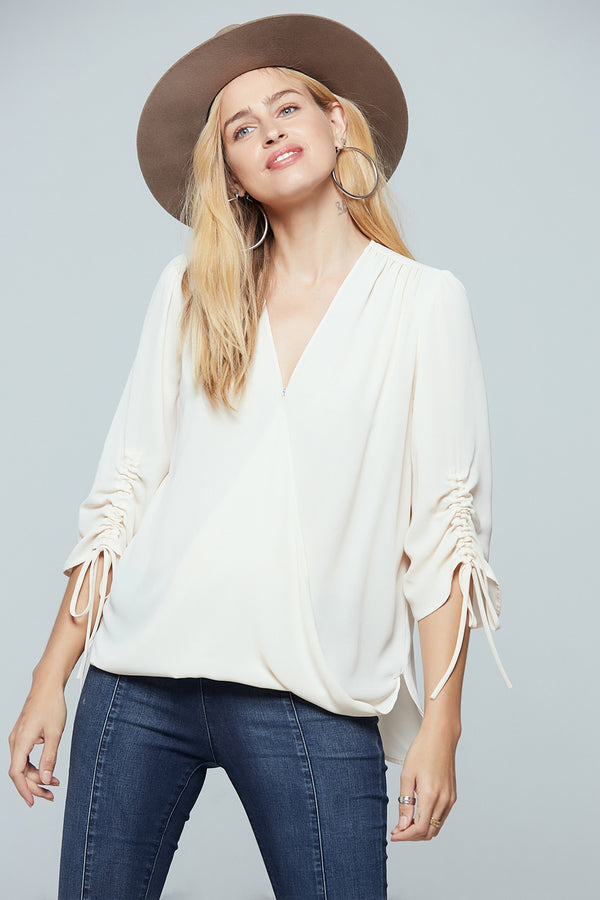 Parma Ruched Sleeve Wrap Blouse Master