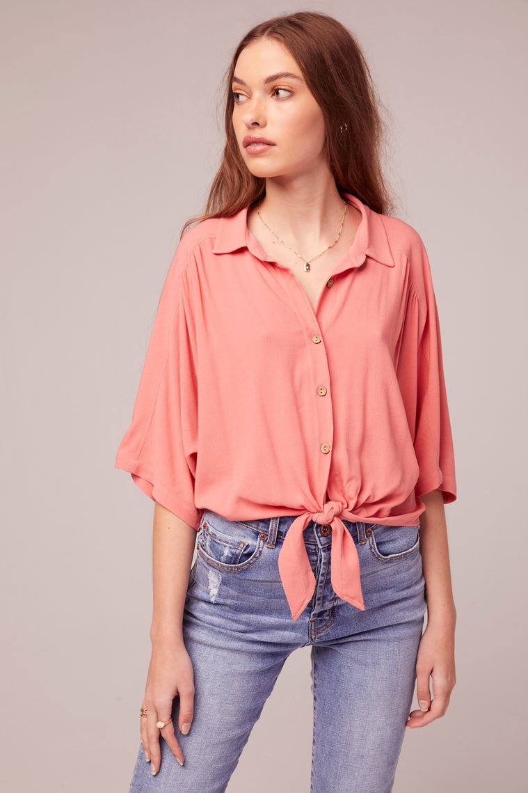 Pearl Tie Front Coral Top Detail