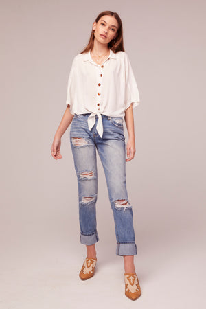 Pearl Tie Front White Top Detail