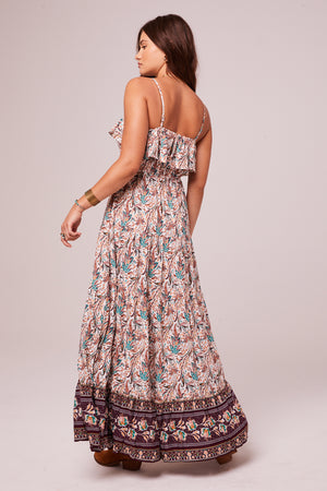 Pennylane Plum Border Print Maxi Dress Back