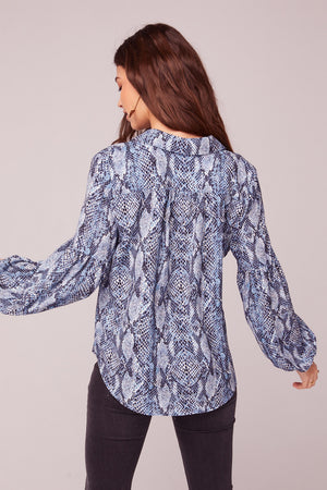 People Are Strange Blue Snake Skin Print Top Back