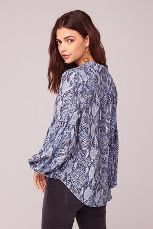 People Are Strange Blue Snake Skin Print Top Side
