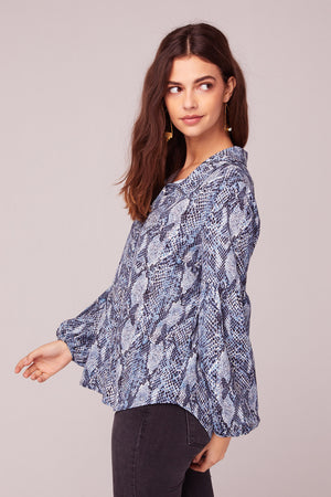 People Are Strange Blue Snake Skin Print Top Side2