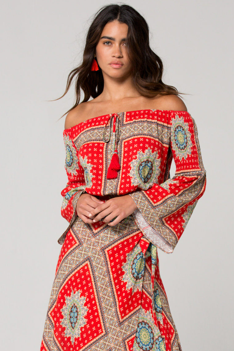 Perth Off the Shoulder Medallion Scarf Print Top Master
