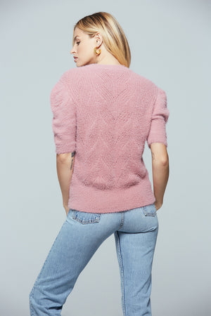 Petite Short Sleeve Fuzzy Sweater Back