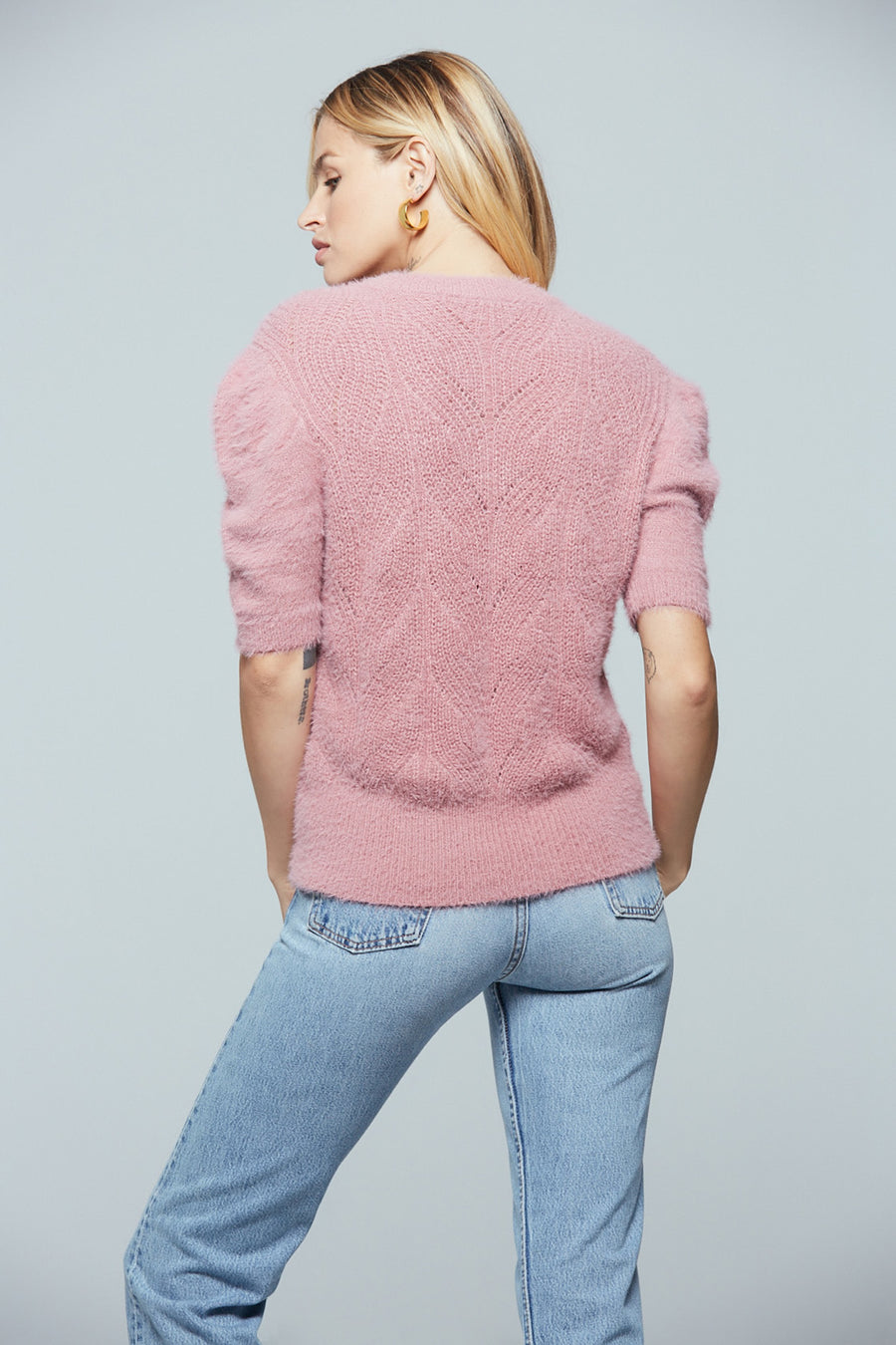 Petite Short Sleeve Fuzzy Sweater Master