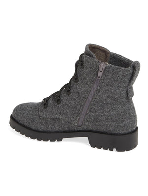 Peyton Heather Grey Felt Lace Up Boot Back