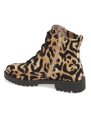 Peyton Leopard Print Lace Up Boot Back