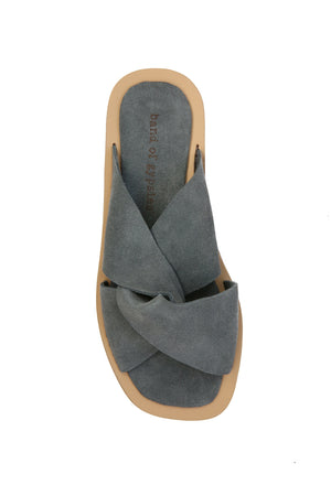 Phoebe Gray Suede Slide Sandal Top