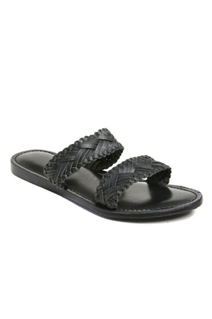 Pier Black Braided Leather Sandal Front