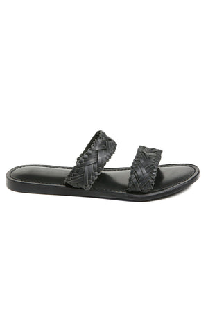 Pier Black Braided Leather Sandal Side