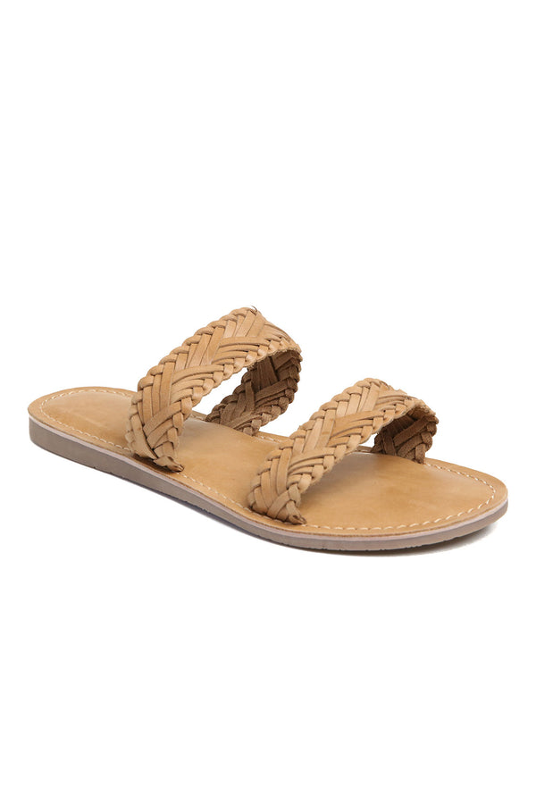 Pier Tan Braided Leather Sandal Front