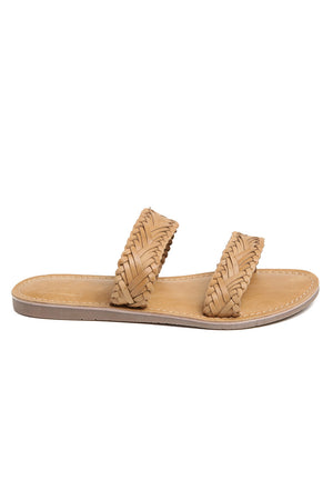 Pier Tan Braided Leather Sandal Side