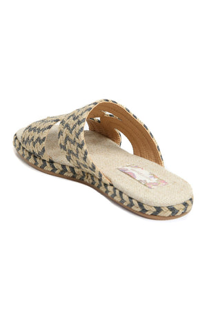 Playa Natural Black Braided Jute Slide Sandal Back