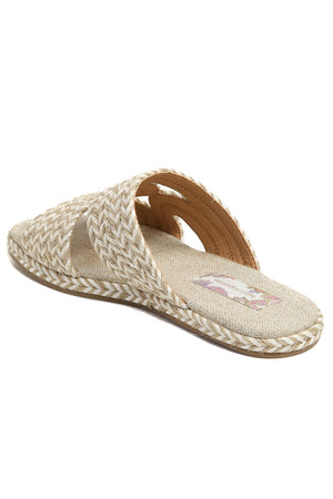Playa Vegan White Natural Braided Slide Sandal Back