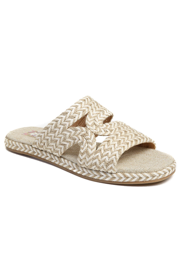 Playa Vegan White Natural Braided Slide Sandal Master