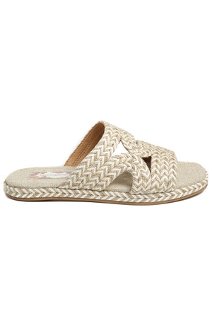 Playa Vegan White Natural Braided Slide Sandal Side