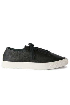 Pluto Black Leather Sneaker Side