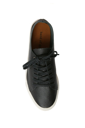 Pluto Black Leather Sneaker Top