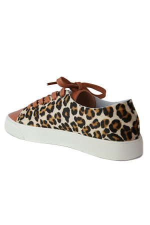 Pluto Cognac Leather Leopard Sneaker Back