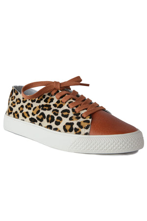 Pluto Cognac Leather Leopard Sneaker Master