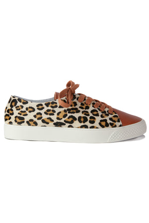 Pluto Cognac Leather Leopard Sneaker Side
