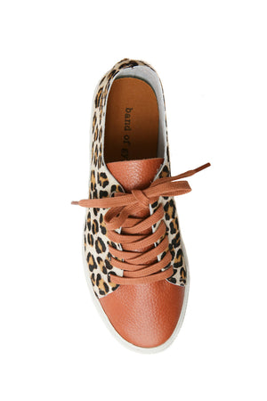 Pluto Cognac Leather Leopard Sneaker Top