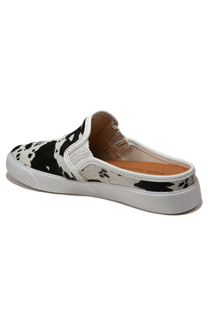 Portia Black and White Cowhair Slip-On Sneaker Back