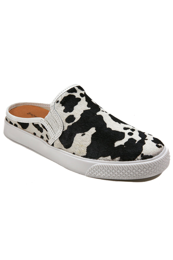 Portia Black and White Cowhair Slip-On Sneaker Master
