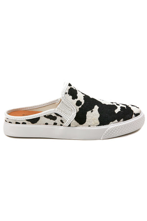 Portia Black and White Cowhair Slip-On Sneaker Side
