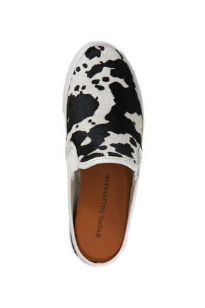 Portia Black and White Cowhair Slip-On Sneaker Top