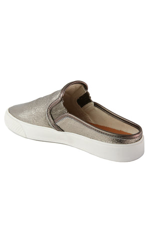Portia Pewter Crackle Leather Slip-On Sneaker Back