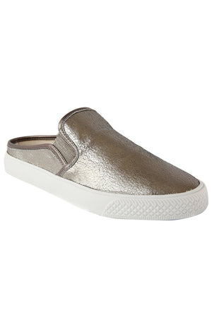 Portia Pewter Crackle Leather Slip-On Sneaker Master
