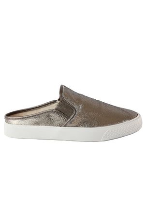 Portia Pewter Crackle Leather Slip-On Sneaker Side