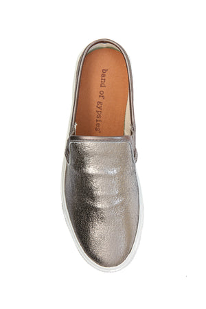 Portia Pewter Crackle Leather Slip-On Sneaker Top