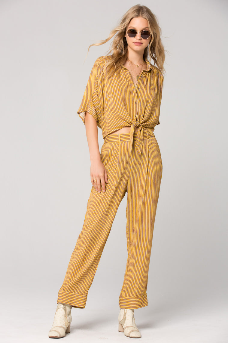 Porto Mustard Stripe Pleated Trousers Master Detail