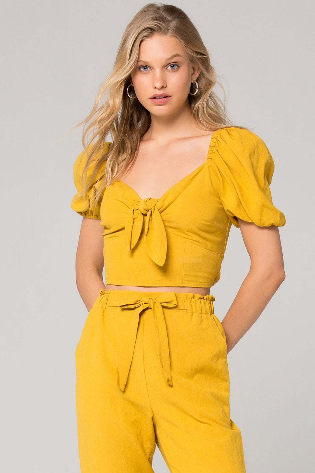 Preston V-Neck Tie Front Crop Top Master