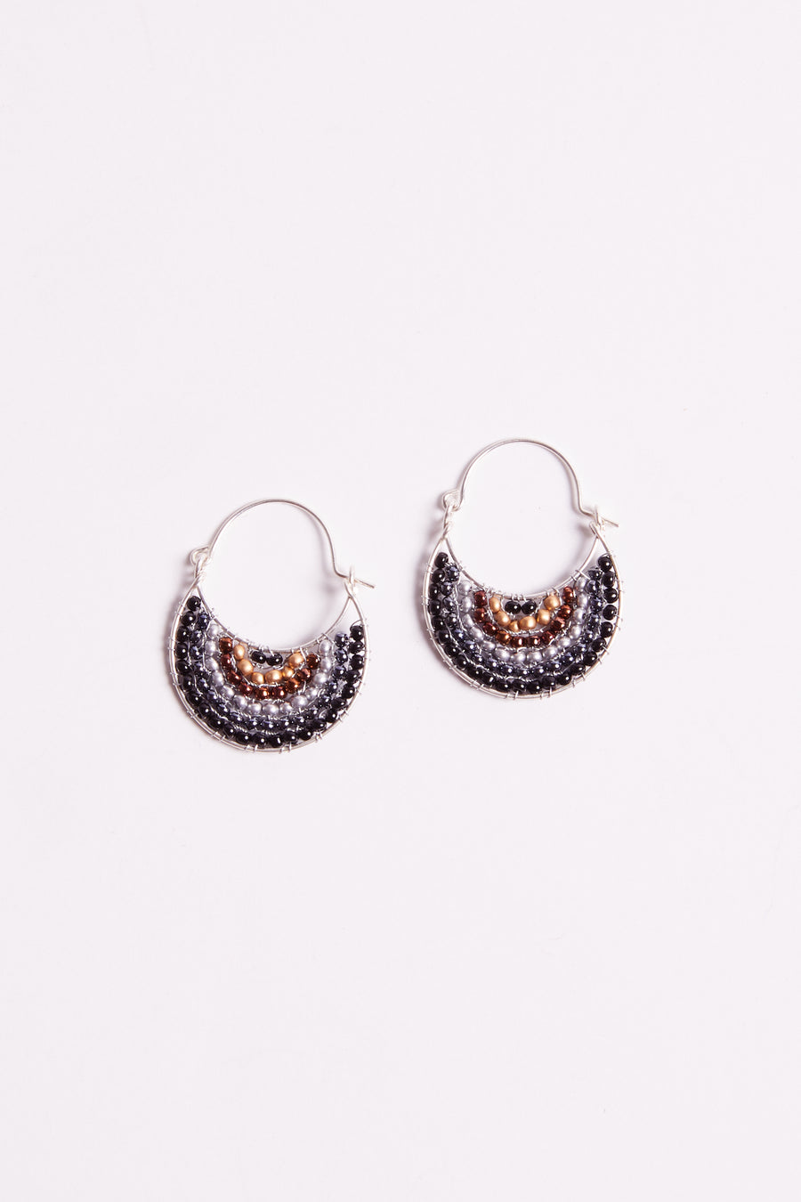 Punta Mita Black Beaded Silver Earrings Flat